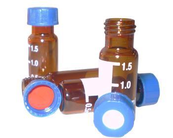 Vial Âmbar com Septo PTFE/Silicone e Tampa Rosca em Polipropileno Pcte c/ 100 Unids